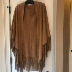 Faux suede fringe cape by adore M